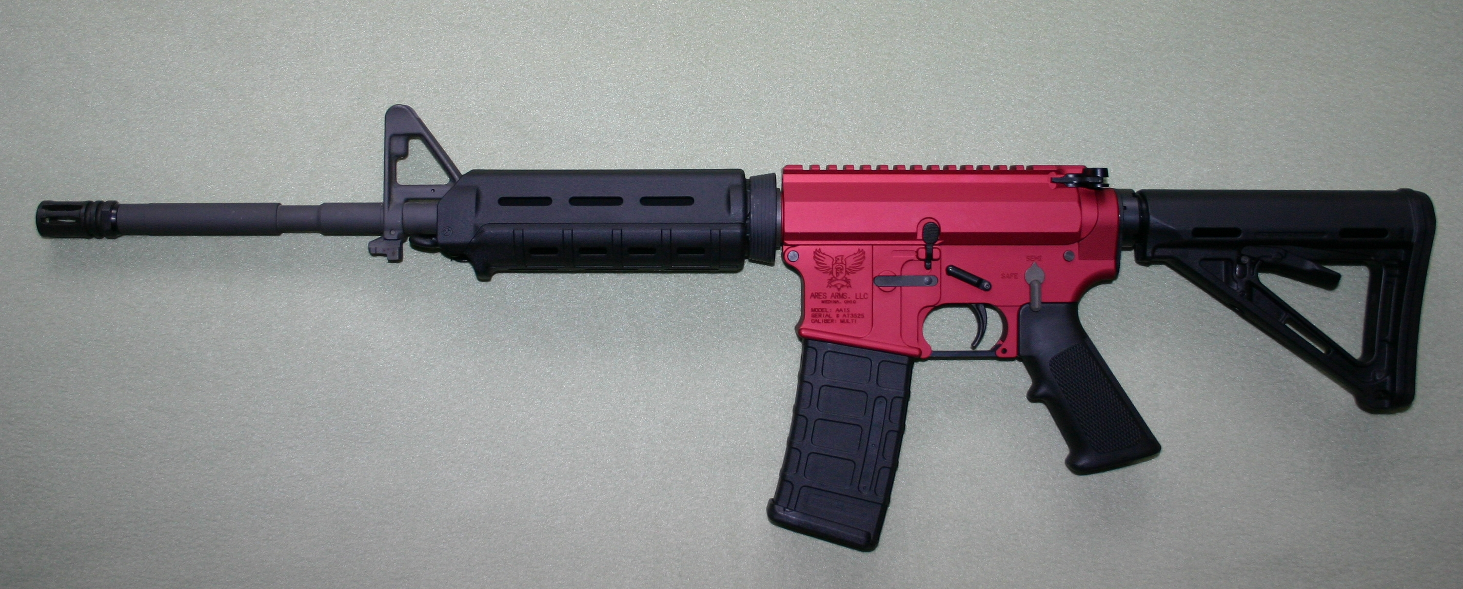 Ares Arms AA-15 Red M4-Style - Magpul Stock and Handguards
